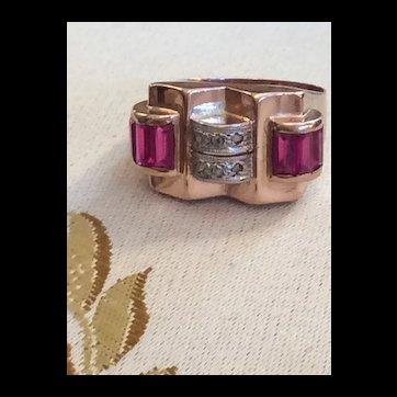 Rosegold Deco Ruby & Diamond Ring