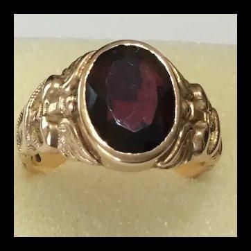 Art Nouveau Garnet Snake embellished 14kt Ring