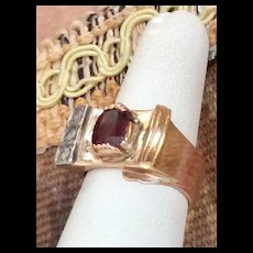 Deco Garnet & Diamond Gold Ring Chunky