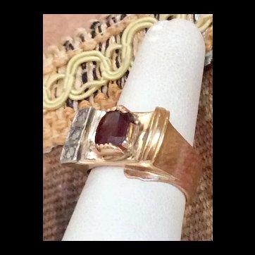 Deco Garnet & Diamond Gold Ring Chunky