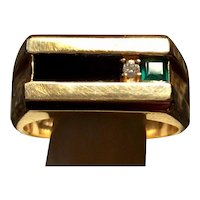 DECO Onyx, Emerald, DIamond RING  10KT  Circa 1940