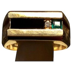 DECO Onyx, Emerald, DIamond RING  10KT  Circa 1940
