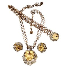 Miriam Haskell Parure Necklace, Bracelet & Earrings Stunning