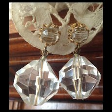 Miriam Haskell Earrings C: 1940 Lovely Crystal Drops