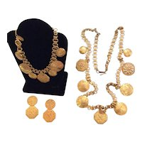 Miriam Haskell Coin Necklace, Bracelet, Earrings Parure