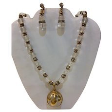 Miriam Haskell 1940's Crystal Necklace & Earrings Signed Set