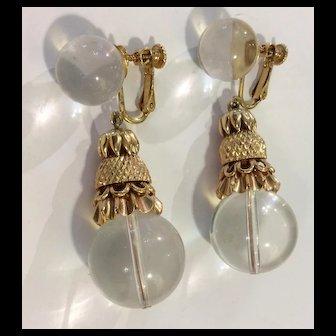Huge Miriam Haskell Crystal & Gold Stunnig Earrings