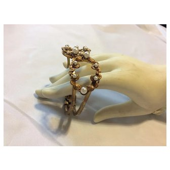 Miriam Haskell Pearl & Gold Cuff Bracelet SIGNED  C:1940