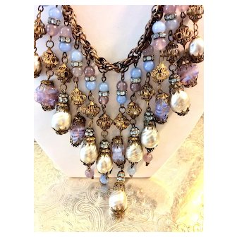 Miriam Haskell Set Baroque Pearl STATEMENT Necklace & Earrings C:1940 Signed