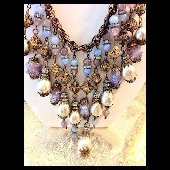 Miriam Haskell Set Baroque Pearls & Opals Nkl & Earrings C:1940 Signed