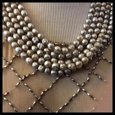 Miriam Haskell Five. Strand Pearl Necklace SALE !! Signed Circa 1940