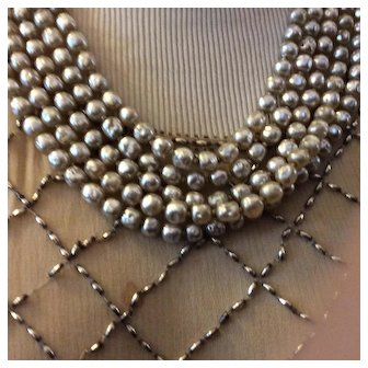 Miriam Haskel Five. Strand Pearl Necklace SALE !!
