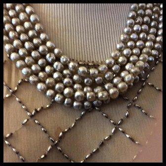 Miriam Haskel Five. Strand Pearl Necklace SALE !!