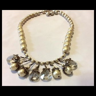 Miriam Haskell Crystal & Pearl Necklace SALE !