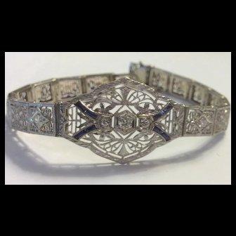 SALE  Platinum Diamond Sapphire Filigree Bracelet Art Deco