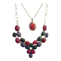 Ruby, Emerald, Sapphire Sterling Necklace 60+ Carats Statement