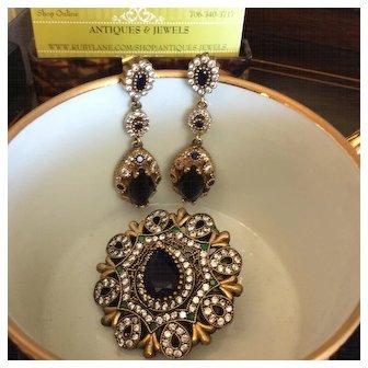 Stunning Sapphire Earrings & Brooch