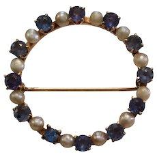 Classic Ceylon Sapphire & Pearl Brooch/Pin 14kt