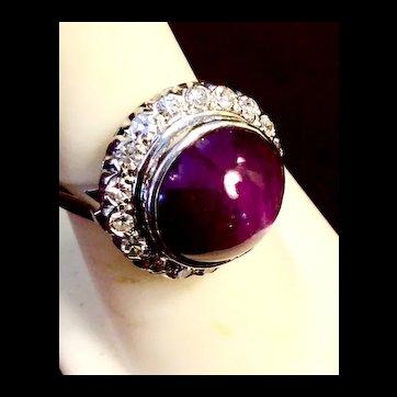 Art Deco Star Ruby & Diamond Ring