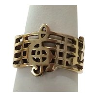 Handcrafted Treble Clef/ Notes Music 14kt Band Ring