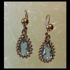 Victorian Aquamarine Earrings  14kt  pierced