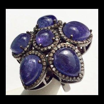 TANZANITE & Diamond Ring 20cts Stunning