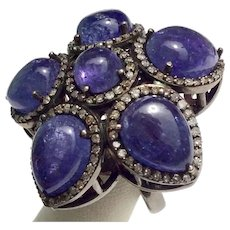 TANZANITE & Diamond Ring 20cts Stunning