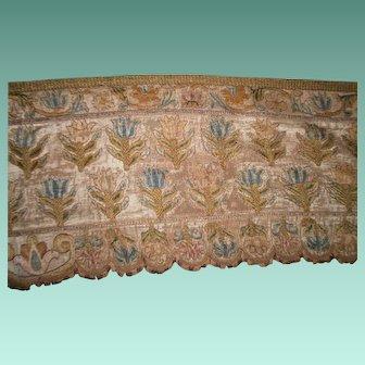 17th Century Italian embroidered long silk pelmet