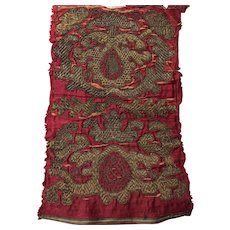 17 th century Italian bullion thread embroidered panel. Perfect for a pillow.