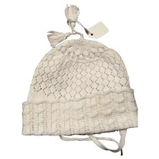 Georgian babies hand knitted babies bonnet. Early 19 th century .