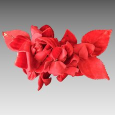 1920's Velvet red flowers and leaves corsage.