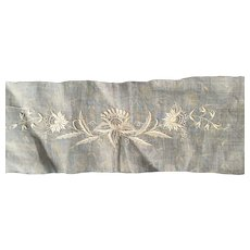 Early 19 th century Georgian fine muslin panel with embroidered detail.