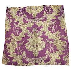 Early 19 th century silk and metallic thread brocade panel.Purple and gold.