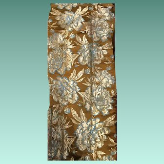 19 th century  beautiful silk brocade panel. French.Bronze, gold and turquoise . Perfect for a pillow.