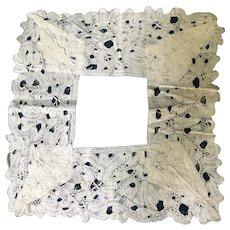 17 th century Milanese linen lace handkerchief surround.