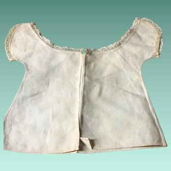 18 th century linen with lace edged detail. Tiny babies vest. English