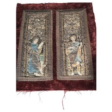 Early 17 th century embroidered panels .Pair
