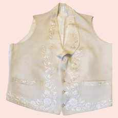 19th century cream silk embroidered waistcoat. Mens