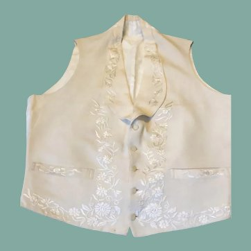 19th century cream silk embroidered waistcoat. Mens