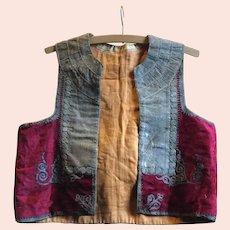 19 th century Ottoman waistcoat. Red silk velvet and metallic embroidery.