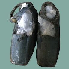 Early 19 th century Georgian babies blue leather shoes or for doll