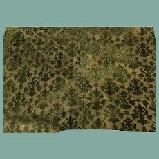 16 th century Italian silk chiselled velvet fragment . Green .Florentine
