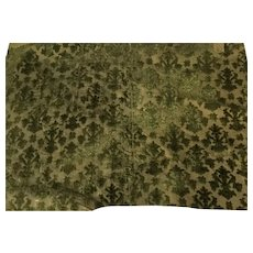 16 th century Italian silk chiselled velvet fragment . Green .Florentine