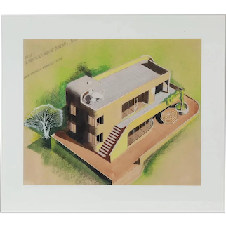 Rendering for a modern house