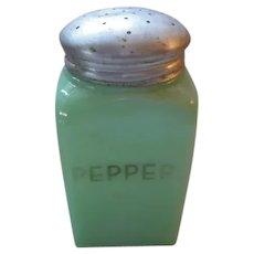 Jeannette Genuine Jadite/Jadeite Square Pepper Shaker