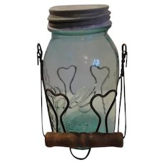 Ball Perfect Mason Blue Quart Jar And Wire Basket