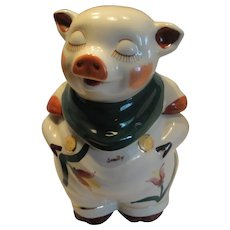 Shawnee Pottery Smiley Pig Cookie Jar, Tulip With Green Scarf and Gold Trim