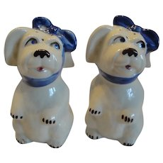 Shawnee Muggsy Toothache Blue Sash Puppy Dog Salt And Pepper Shakers