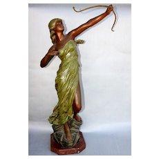 Goddess Diana Cast Bronze Statue Mid 1800s - Signed by Artist J. Causse