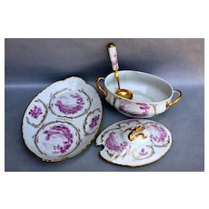 Barthelemy de Blemont (BB) Early 1800s French Hand-Painted Soup Tureen & Platter